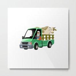 Farmer Cartoon Driving Truck Transporting Cow Metal Print