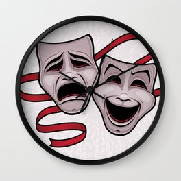 Comedy And Tragedy Theater Masks Wall Clock