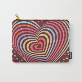 multi-colored rainbow heart on dark brown background. 3D Carry-All Pouch