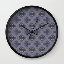 wildflowers and hearts teal and mauve damask pattern Wall Clock