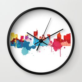 Manila Cityscape Watercolor Wall Clock