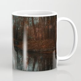Enchanted Forest Lake Crimson & Teal Coffee Mug