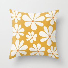 Floral Daisy Pattern - Golden Yellow Throw Pillow