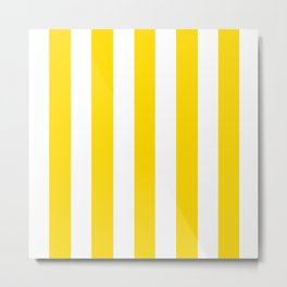 Sizzling Sunrise yellow - solid color - white vertical lines pattern Metal Print