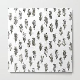 Zig-zag black in leaves pattern Metal Print