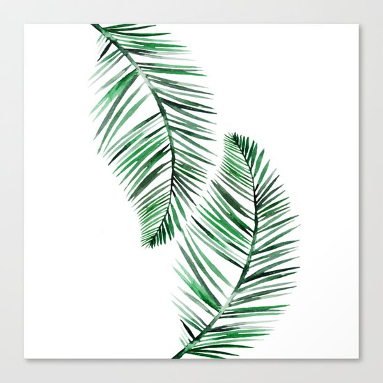Tropical Exotic Palm Leaves on #Society6 Canvas Print