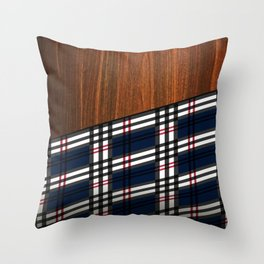 Wooden Scottish Tartan Throw Pillow