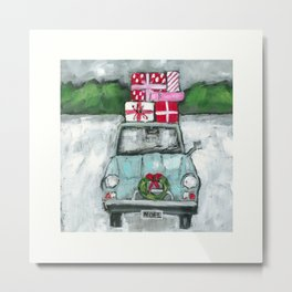 Christmas Car To Grandmother's House Metal Print