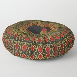 Gold and red Decorated Phoenix bird symbol Floor Pillow