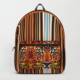 Blue Eyed Leopard Stripe Border Backpack