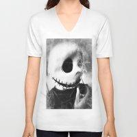 jack skellington V-neck T-shirts featuring smoking jack skellington by Joedunnz