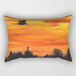 Sunset sky with bird Rectangular Pillow