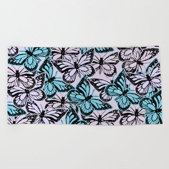 Vintage Butterflies Beach Towel