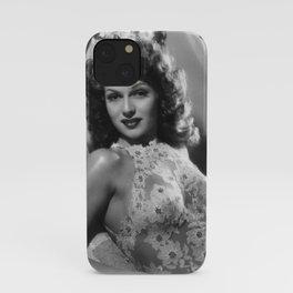 Rita Hayworth, Hollywood Starlet black and white photograph / black and white photography iPhone Case