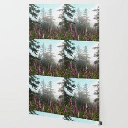 Misty Mountain Wildflowers Wallpaper