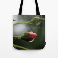 scripture Tote Bags featuring Pink Rosebud with scripture. by The Time Catcher