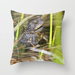 Toad in the pond Throw Pillow