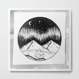 Polar Bear & Northern Lights Metal Print