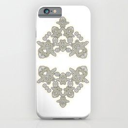 'Love 03' - Dutch heart of lace in grey and soft yellow iPhone Case