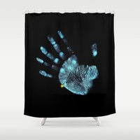moriarty Shower Curtains featuring Hand Print by neutrone
