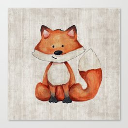 Little Fox, Baby Fox, Baby Animals, Forest Critters, Woodland Animals, Nursery Art Canvas Print