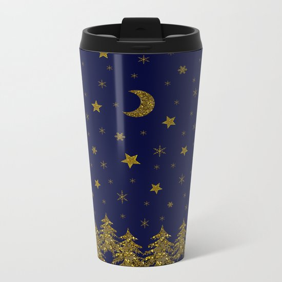 Sparkly Christmas tree, moon, stars Metal Travel Mug