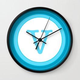 Blue letter V Wall Clock