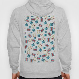 Modern red teal yellow 80's music cassette cool pattern Hoody