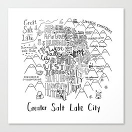 Salt Lake City Illustrated Map Canvas Print