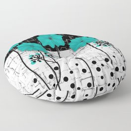Turquoise flowers on black and white background . Floor Pillow