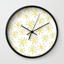 Happy Sunshine Print Wall Clock