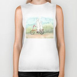 Bunnies on a Bicycle Biker Tank