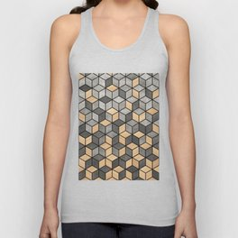 Concrete and Wood Cubes Unisex Tank Top