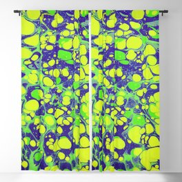 navy blue and green coloured marbling art Blackout Curtain