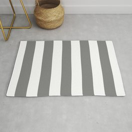 Gray (HTML/CSS gray) -  solid color - white stripes pattern Rug