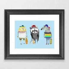 The skateboarders. skateboard print - skating - animal art. Framed Art Print