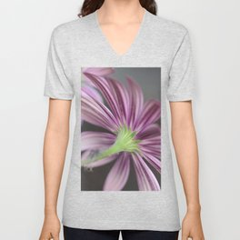 Beautiful Daisies - Daisy Flower Stripes in Pink and Purple Unisex V-Neck