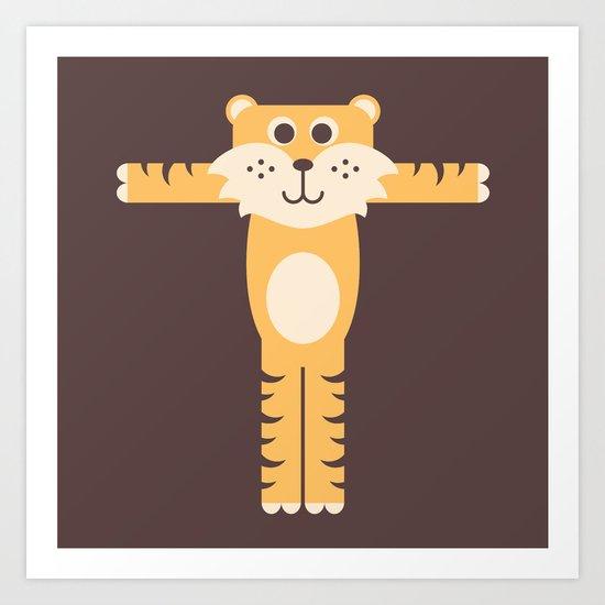 Letter T // Animal Alphabet // Tiger Monogram Art Print