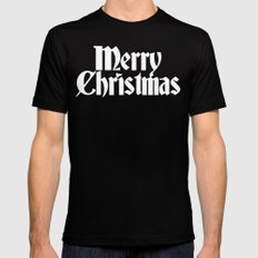 Merry Christmas White Christmas Version Black MEDIUM Mens Fitted Tee