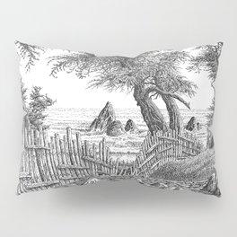 COASTAL CYPRESS TREES VINTAGE PEN DRAWING Pillow Sham