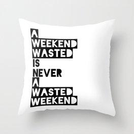 A Weekend Water (Black) Throw Pillow