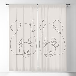 One Line Panda Blackout Curtain
