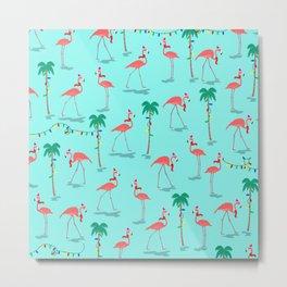 Christmas Flamingo Pattern Metal Print