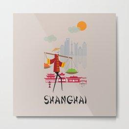 Shanghai - In the City - Retro Travel Poster Design Metal Print