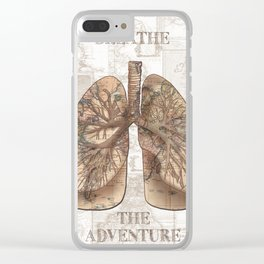 breathe the adventure-world map 1 Clear iPhone Case