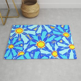 Abstract daisies. Background of blue and white flowers. Rug
