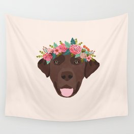 Chocolate Lab floral crown dog breed pet art labrador retrievers dog lovers giftsChocolate Lab flora Wall Tapestry