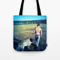 indiana Tote Bags featuring Indiana by Peacockbutterfly  Art