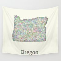 oregon Wall Tapestries featuring Oregon map by David Zydd - Colorful Mandalas & Abstrac
