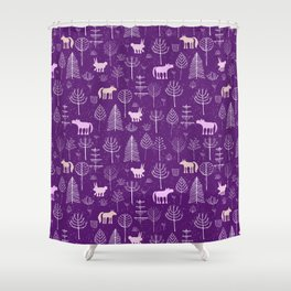 Modern hand painted violet pink white forest trees animals pattern Shower Curtain